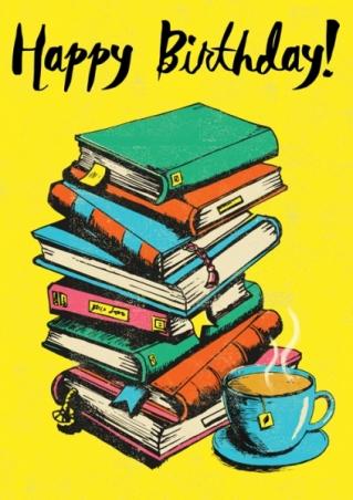 happy birthday pile of books