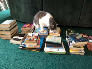 tucker checking out books